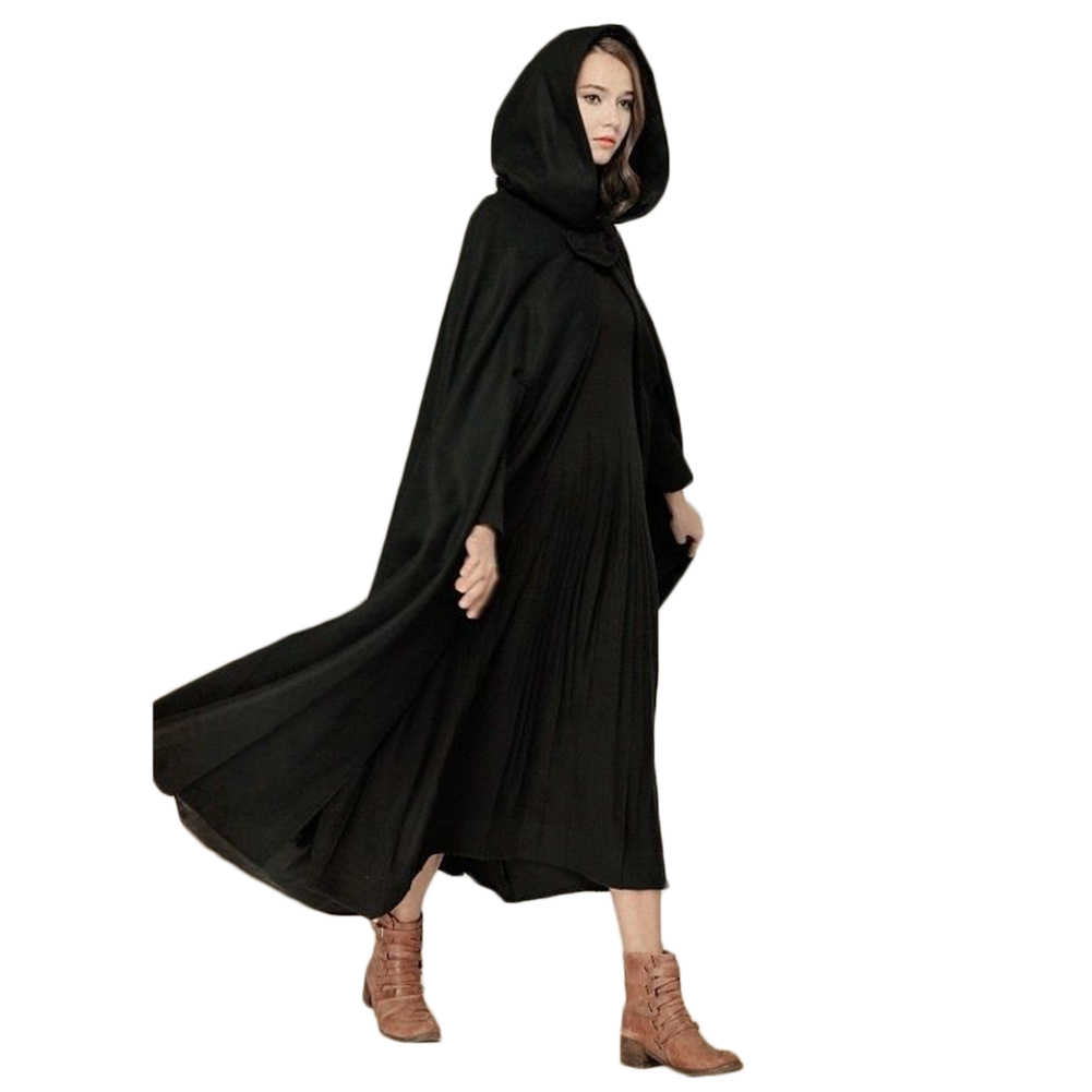 Capa con capucha Medieval capa fina de mujer Vintage capa gótica abrigo largo gabardina 2018 mujeres Halloween Cosplay disfraz capa