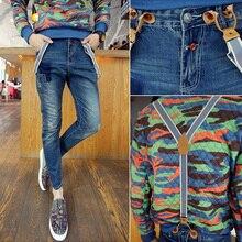 Весной и летом 2016 новые мужские брюки молодой тонкий джинсы Сиамские подтяжки Корейский