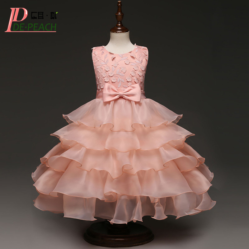 DE PEACH Flower Baby Girls Party Dress Children Bridesmaid Wedding Dresses Girl Princess Bow Multi-Layer Lace Ball Gown Vestidos chinese flower tea mountain peach peach flower mountain peach tea f238