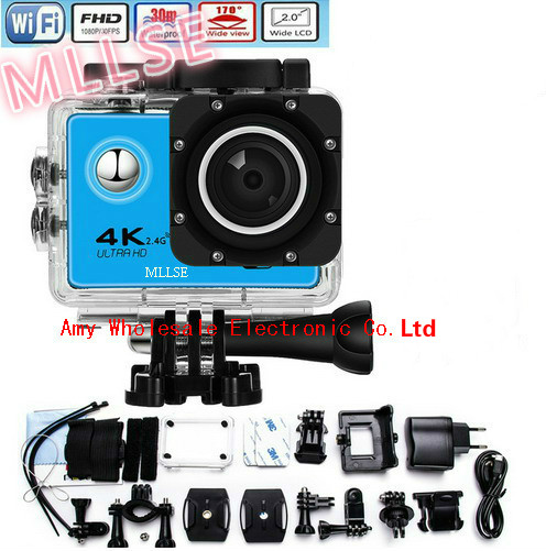 100% Original 4 K MLLSE go pro hero Sport Action caméra 2.0 LCD 30 M étanche 4 K WiFi go pro Sport caméra casque de plongée extrême