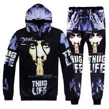 Новое поступление, rap star 2Pac Tupac, толстовки с капюшоном, с 3D принтом, для мужчин/женщин, спортивный костюм, в стиле хип-хоп, комплекты, повседневные толстовки+ штаны для бега