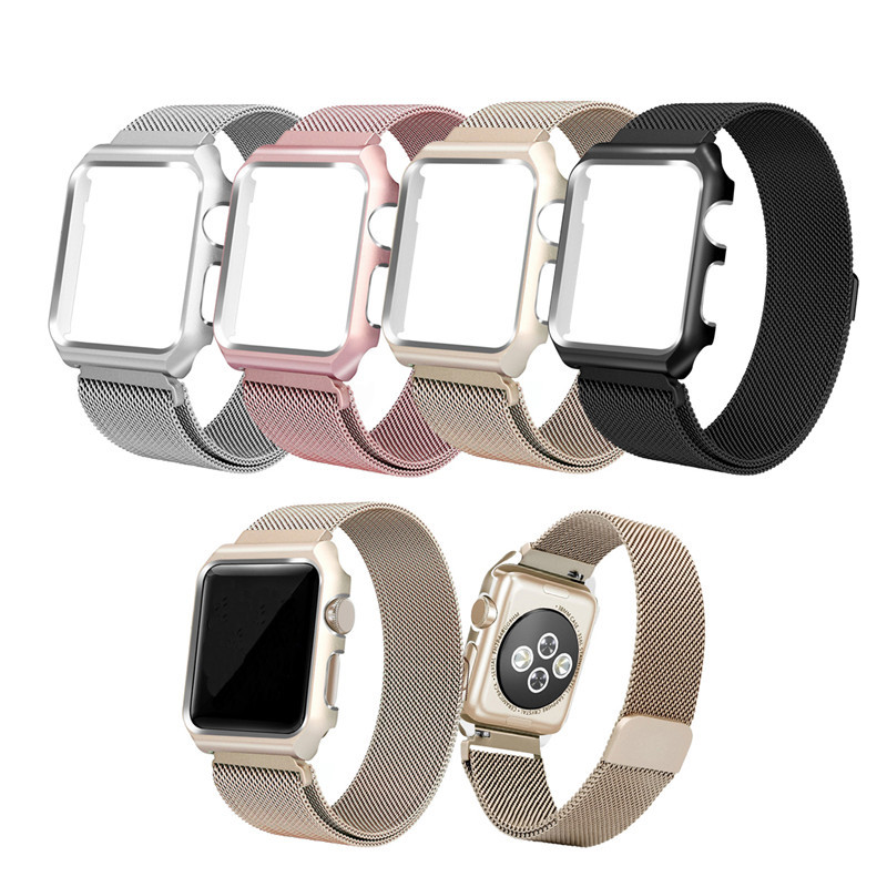 Classic Stainless Steel Metal Mesh Watch Strap for Apple Watch Band 42mm 38mm Milanese Magnetic Closure Wrist Bands With Frame