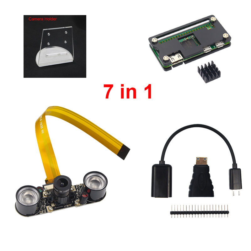 7 in 1 Raspberry Pi Zero W Camera + Holder + Acrylic Case + Heat Sink + Mini HDMI Adapter + GPIO Header + USB Cable RPI Camera audio video hdmi cables male to male female adapter micro usb to usb cable wire male header gpio pins for raspberry pi zero kit