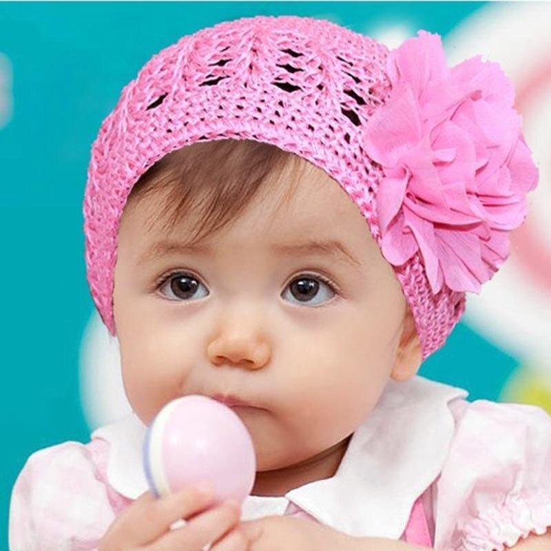 Hot Sale Cute Big Flower Multicolor Baby Boy Girls Winter Warm Fashion Knit Hat