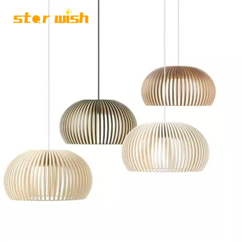Modern Wood Weave Bird Cage Bamboo Pendant Lights Norbic Home Deco Wood Pendant Lamp For Restaurant Dinning Room E27 Bulb