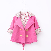 2016 Fashion Casual Autumn Girls Double Breasted Cardigan Infant baby kids Children Outwear Coats Hooded Hoodies Trench