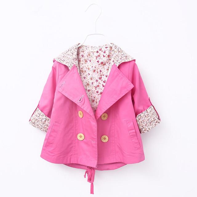 2016 moda Casual muchachas del otoño doble botonadura Cardigan bebé bebés y niños niños Outwear abrigos con capucha sudaderas con capucha zanja