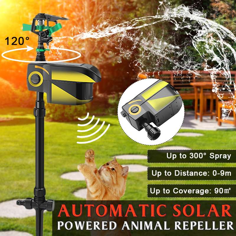 Outdoor Pest Repeller Solar powered Motion Activated Animal Repeller Garden Sprinkler Bird Cat Dog Animal Deterrent Reject