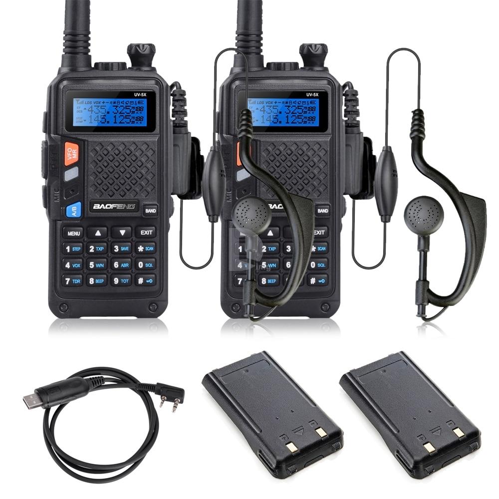 bilder für W/Extra Batterie 2 STÜCKE Baofeng UV-5X Verbesserte Version der Baofeng UV-5R Dual-band-funkgeräte Walkie Talkie + USB Programm Kabel