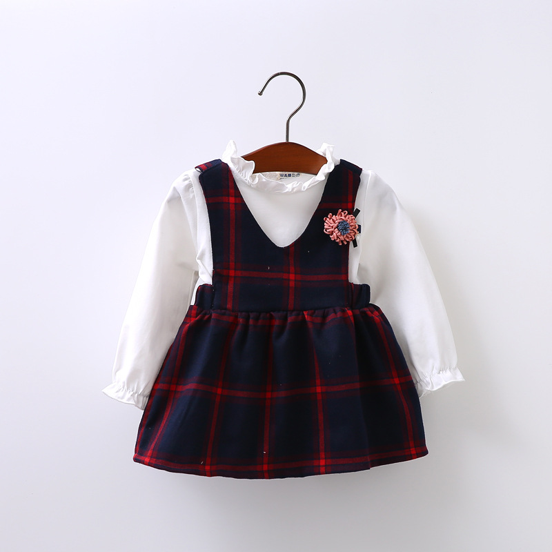 Preppy Style Autumn Baby Girls Long Sleeve O Neck Blouse Tops + Kids Plaid Overalls Two Pieces Dress Vestidos roupas de bebe