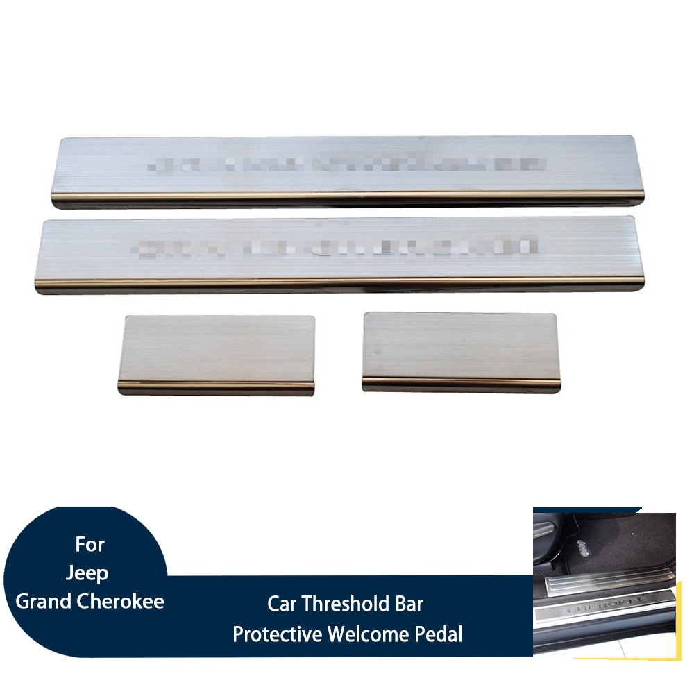 Car Door Sill Scuff Plate Protective Welcome Pedal set for Jeep Grand Cherokee 2014 Stainless Steel
