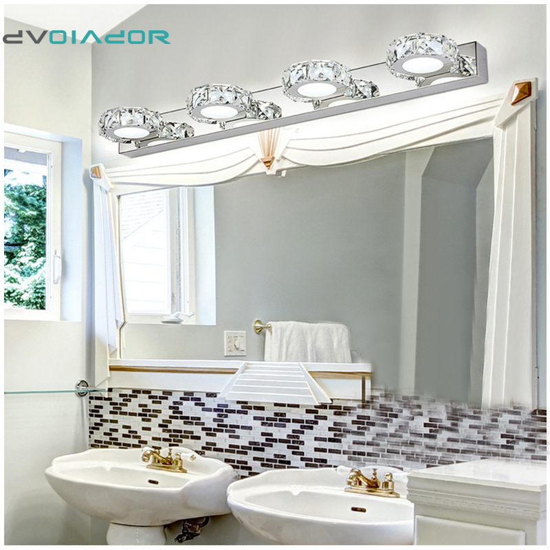 dvolador round led decoration crystal modern bathroom mirror lighting 6w 9w 12w led wall lamps bedroom