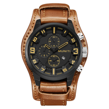Relogio masculino MUNITI Watch Men Military Quartz Watch Mens Watches Top Brand Luxury Leather Sports Wristwatch Date Clock цена и фото
