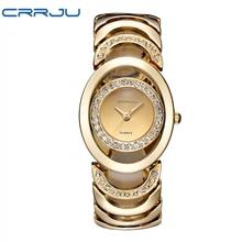 CRRJU Mujeres La Moda Del Reloj de Oro de Acero de Aleación de Pulsera de Cuarzo Relojes Impermeables Damas de Lujo Rhinestone Reloj de Pulsera Relojes 2016