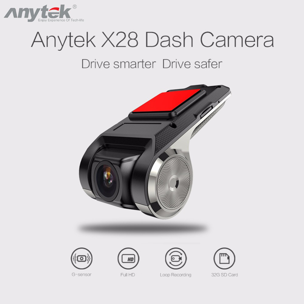 Anytek X28 1080P FHD Car DVR Camera Recorder WiFi GPS ADAS G-sensor Dash Cam USB