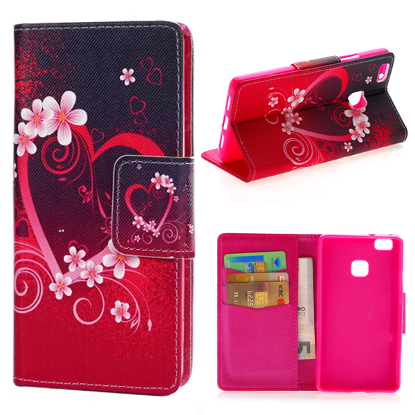 Luxury Retro Heart And Flowers Wallet Leather Flip Card Holder Cover Case For Huawei Ascend P9 Lite Mini G9 Phone Bags Cases
