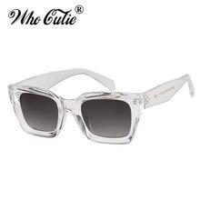 WHO CUTIE винтажные негабаритные прозрачные солнцезащитные очки для женщин Ретро дизайнерские Черепаховые заклепки оправа солнцезащитные очки оттенки OM656
