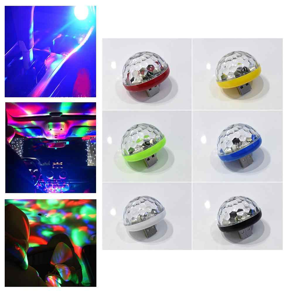 Mini USB Voice Control RGB LED Magic Ball Light DJ Disco Light Party Lights for Car Android Apple Mobile Phone