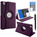 Magnetic 360 Rotating Smart Stand Cover Case for Samsung Galaxy Tab Pro 8.4 inch SM-T320/ T325 W/ Film & Stylus (Purple)