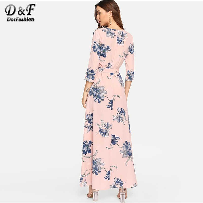 f0aac25a59 ... Dotfashion Pink Floral Print Self Tie Waist Dress Women Clothes 2019  High Quality Autumn A Line ...