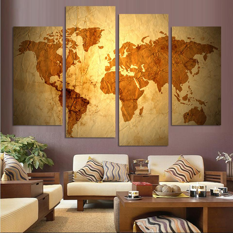 Old world map design hd print sitting room bedroom home decoration canvas painting A015 Free shipping