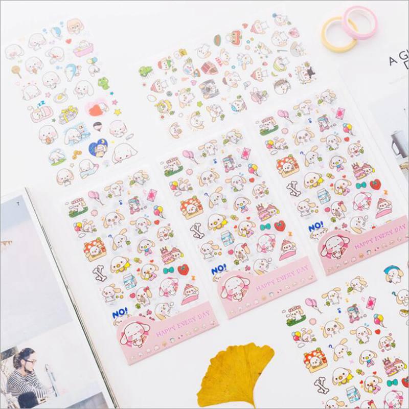 6 Pcs/pack Cartoon Animals Kawaii Cute Draw Decorative Korean Stickers Scrapbooking Stick Label Diary Stationery Album Stickers