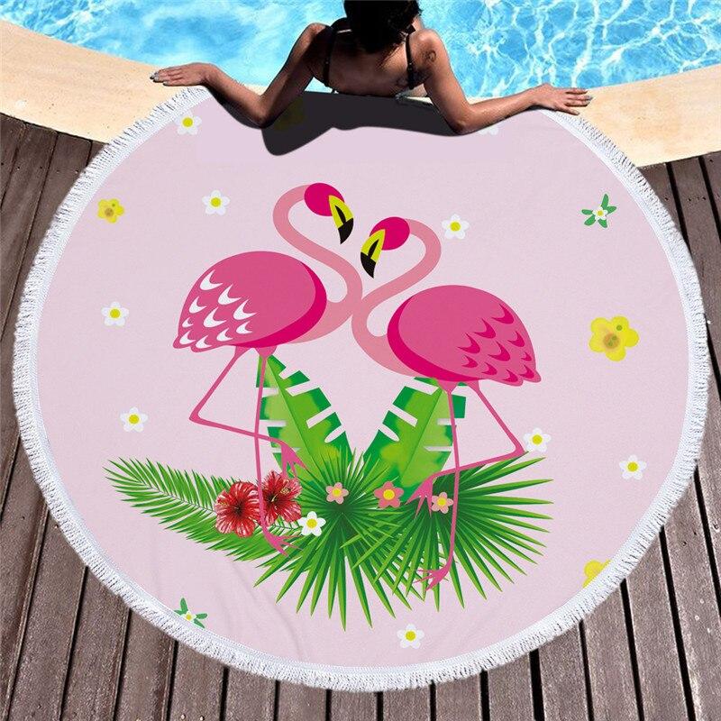 Flamingos 150 cm Runde Großen Badetuch Tier Badetuch Quaste Tapisserie Wohnkultur Sommer Strand Vertuschen Suncreen Yoga matte