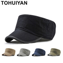 ac7c0484d01ec TOHUIYAN Men Women Military Style Cadet Army Cap Solid Color Washed Cotton Flat  Top Caps Brand