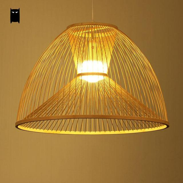 Bamboo Wicker Rattan Yurt Shade Pendant Light Fixture Asian Chinese Meditation Hanging Ceiling L& Fittings Dining & Bamboo Wicker Rattan Yurt Shade Pendant Light Fixture Asian Chinese ...
