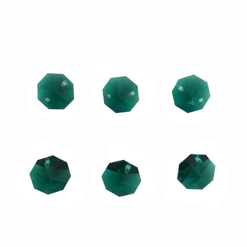 Free Shipping 1000pcs Lot Zircon Green14mm Crystal Octagon Beads In 2 Holes Crystal Beads Chain Garland
