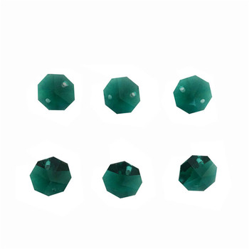 Free Shipping 1000pcs/Lot , Zircon Green14mm Crystal Octagon Beads In 2 Holes  Crystal Beads Chain Garland Strand Beads