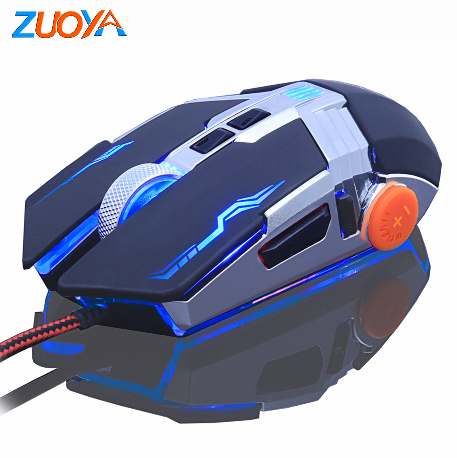 Gaming Mouse 8D 3200DPI Adjustable Wired Optical LED Computer Mouse USB Cable Mute Mouse Suitable for Laptop,B Wired Gaming Gaming Mouse
