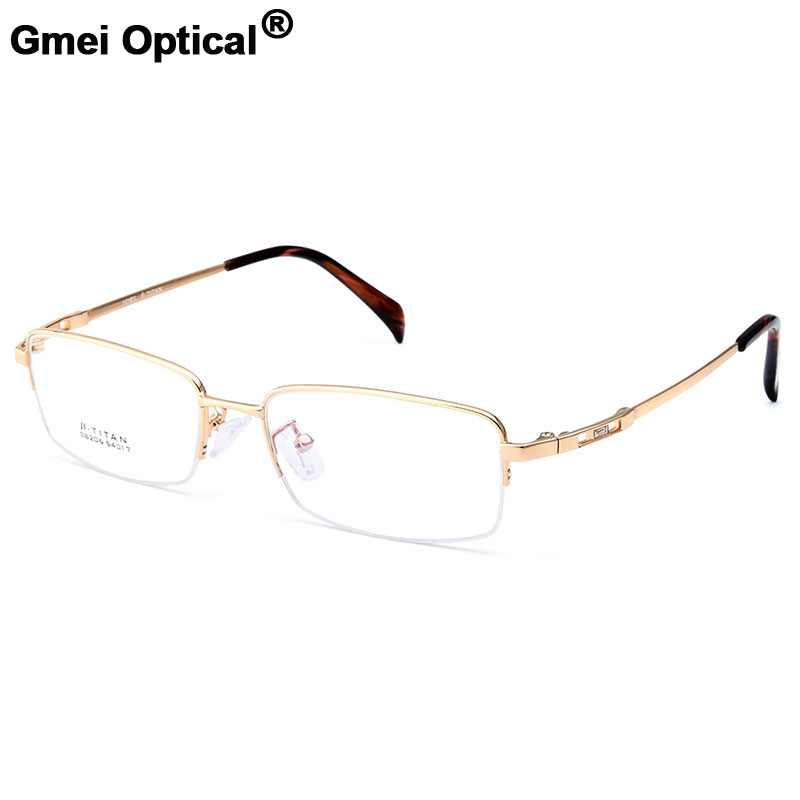 Gmei Optical S8206 Alloy Metal Semi-Rimless Eyeglasses Frame for Men ...