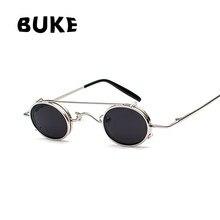 BUKE Gothic Steampunk óculos de Sol Das Mulheres Dos Homens de Metal Rodada  Shades Marca Designer óculos de Sol Homens Espelho d. aa2879e8d8