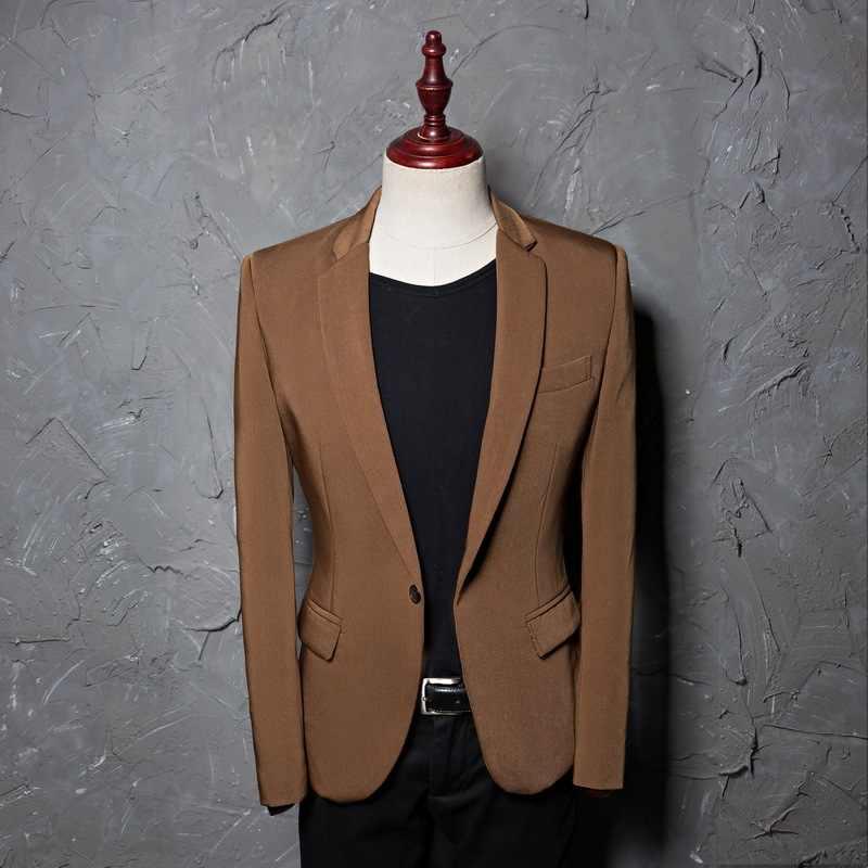 Pria Single Breasted Blazer 2018 Musim Semi Musim Gugur Baru Notched Lapel Jas Terno Masculino Blazer untuk Pernikahan Kita ukuran