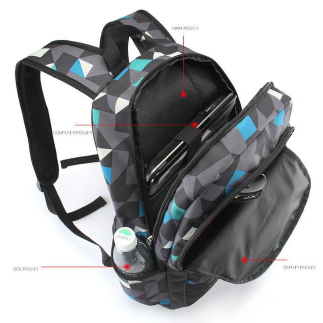Hombres Mochila para adolescentes mochilas poliéster geométrico marca mochila laptop backpack hombres de moda mochila
