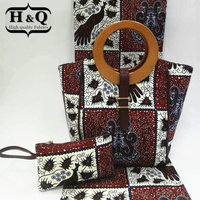 H & Q 새해 패션 디자인 아프리카 왁스 2 개 핸드백 세트 직물 6 야드 아프리카 왁스 직물 바느질 드레스 신발