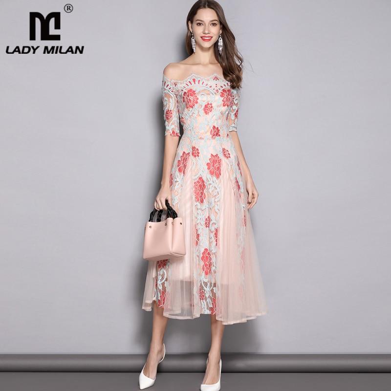 2019 Women s Runway Designer Dresses Slash Neckline Embroidery Lace Elegant Floral Mid Calf Dresses