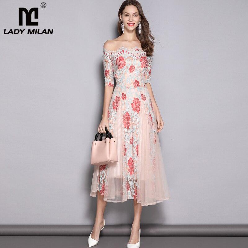 Kadın Giyim'ten Elbiseler'de 2019 kadın Pist Tasarımcı Elbiseler Slash Boyun Çizgisi Nakış Dantel Zarif Çiçek Orta Buzağı Elbiseler'da  Grup 1
