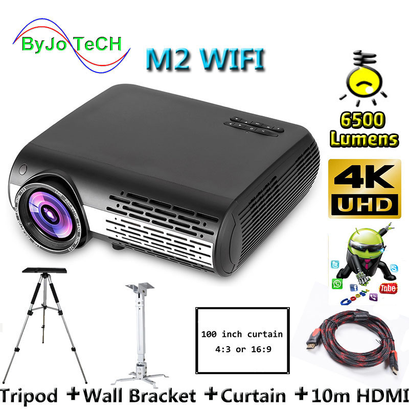 Poner Saund M2 WIFI LED projector 6500 Lumens 4K 2K FULL HD Android 6.0 Support Wireless screen interaction 100 inch Screen(China)