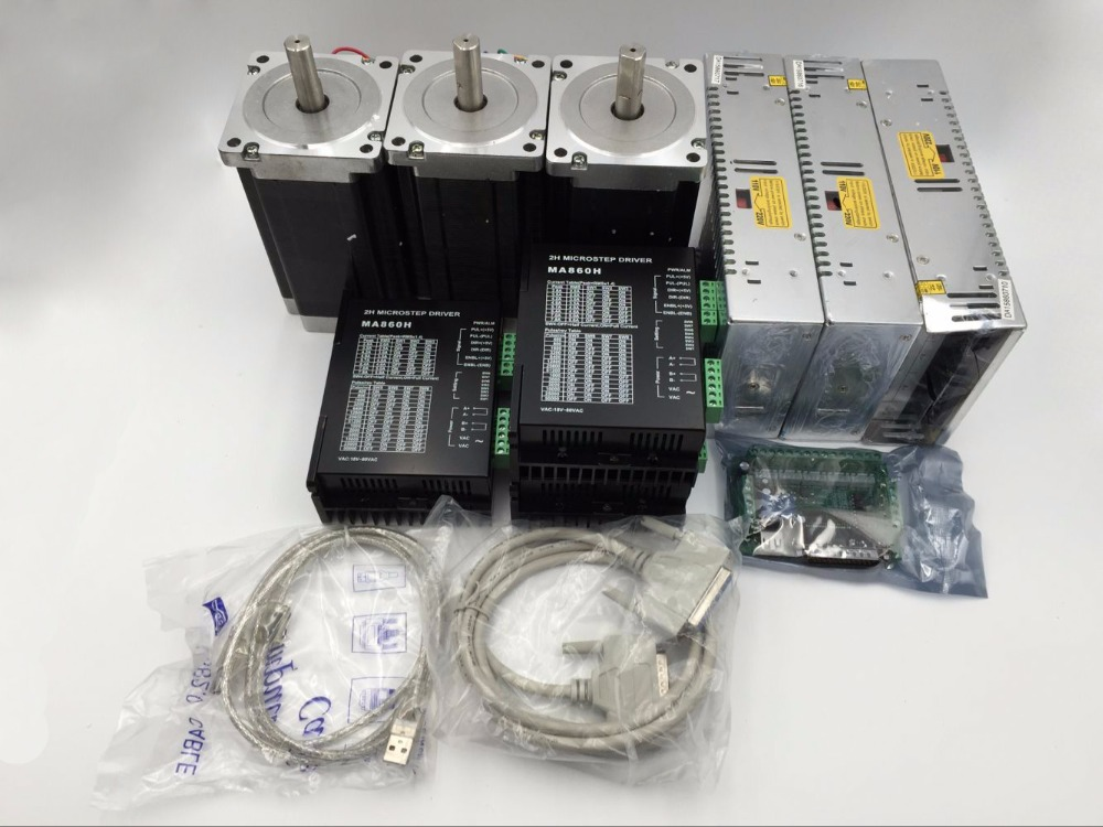 CNC Router 3Axis Stepper Motor Driver Kit Nema34 L80mm+ Power Supply+ Mach3 5Axis Breakout Board+ Cable Set