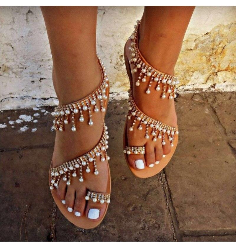 2019 Perle Sapato Sommer String Bead Sandalen Feminino Damenmode Schuhe Frauen Strand Flats Gladiator cTFKl31Ju5