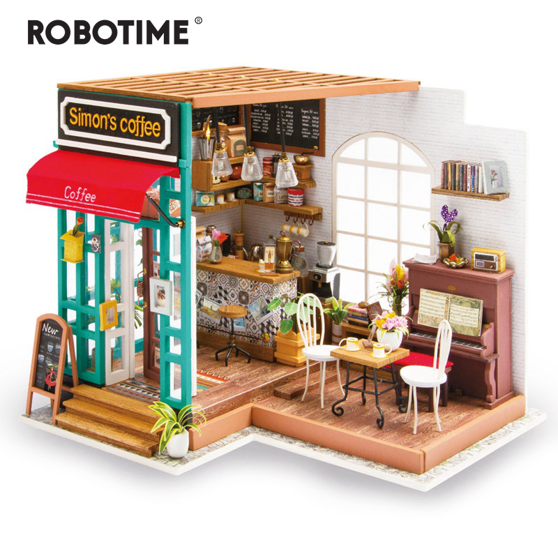 Robotime DIY Simon's Coffee with Furnitures Children Adult Miniature Wooden Doll House Model Building Kits Dollhouse Toys DG109-in Doll Houses from Toys & Hobbies