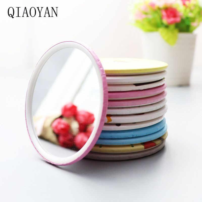 Qiaoyan Nyaman Lucu Kartun Mini Portable Circular Hand Cermin Saku Portable Riasan Alat Makeup