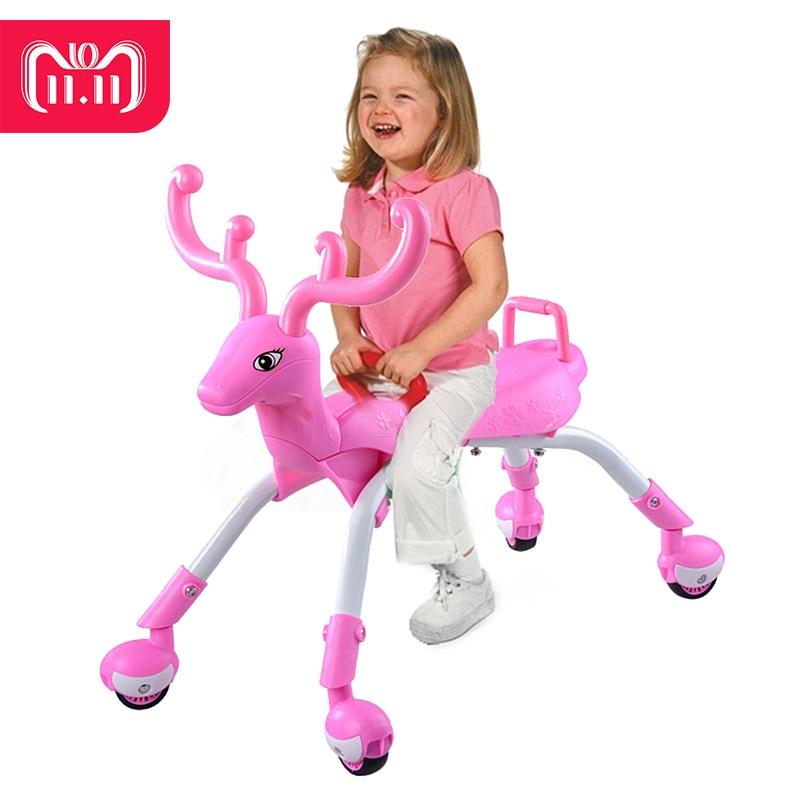 Kidsrun Riding Animal Toy Four Wheel Children Balance Bikes Scooter Baby Walker No Foot Pedal Driving Bike Infant 1-3years