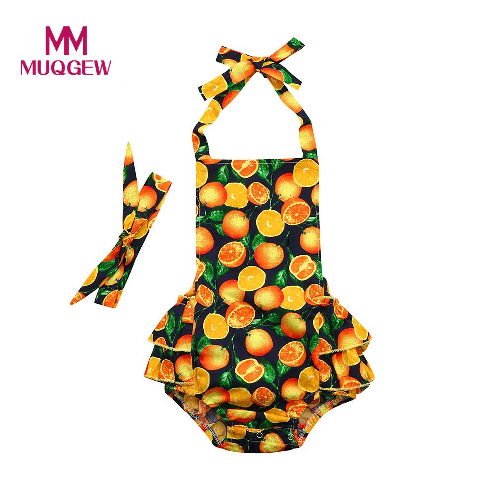 e255967e175c Detail Feedback Questions about Baby girls clothes baby girl rompers summer  baby headband fruit orange Printed Ruffles Jumpsuit short Outfits girls  Clothes ...