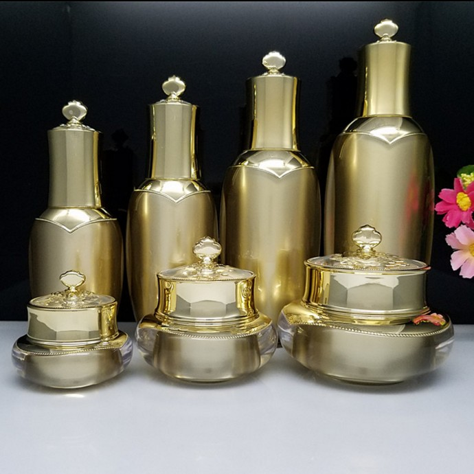 High Quality 5g,10g,15g,20g,30g,50g,100ml Gold Acrylic Cream Jar Empty Cosmetic Packing Container Lotion Pump Bottle high quality black acrylic cream jar gold cap empty cosmetic bottle container jar lotion pump bottle 30g 50g 30ml 50ml 120ml