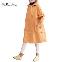 BelineRosa Big Sizes Women Clothing Autumn Style Orange Color Loose Long Big Pocket Pure Color Trench