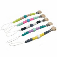 5pcs Silicone Chew Beads Pacifier Clip Nursing Teething Wooden Dummy Holder Baby Silicone Teether Food Grade Pendants