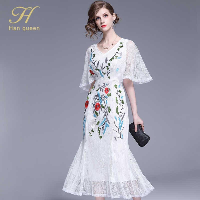 H Han Queen nouvelles femmes été piste brodée dentelle robe de soirée dames v-cou mode mince blanc/noir robes de sirène